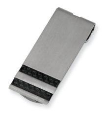 Stainless Steel Brushed Black Carbon Fiber Money Clip