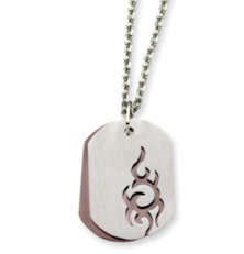 Stainless Steel IP Chocolate-plated Dog Tag 22in Necklace