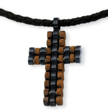 Stainless Steel Wood and Black Color IP-plated Cross 18in Necklace