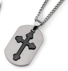 Titanium Black IP-plated Moveable Cross 22in Necklace