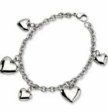 Stainless Steel multi heart bracelet 8in
